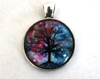 Silver Plated Round Blue and Deep Pink Tree of Life Cabochon Charm/Pendant