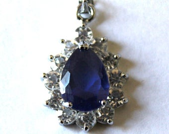Sapphire Blue Teardrop Faceted Charm/Pendant with Rhinestones