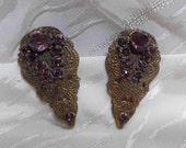 Vintage Amethyst Rhinestone Dress Clips Art Nouveau Pot & Paste Ornate Gold Wash Pair Pierced Metal Purple Stones