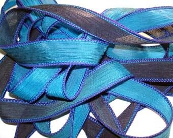 "GRECIAN SEA 42"" hand dyed wrist wrap bracelet silk ribbon//Yoga wrist wrap bracelet ribbons//Silk wrist wrap ribbon// By Color Kissed Silk"