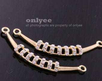 2pcs-40mmX5mmGold plated Bress LUX Cubic zirconia Ladder necklace Connector(K399G)