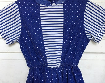 80s girls dress / navy with dots and stripes - retro girls dress size 8/10 little girl
