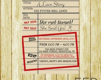 Library Themed Bridal Shower Invitation - Bridal Shower Invitation - Baby Shower Invitation - Party Invitation - Book Themed Invite