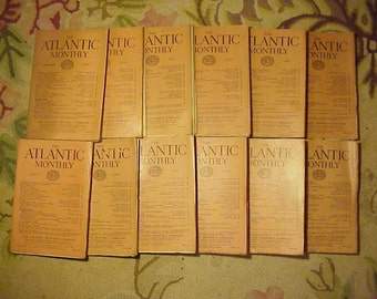 Full Year 1923 The Atlantic Monthly Magazines January - December published By Atlantic Monthly Boston, Antique Magazines with lots of Ads