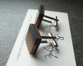 Cuff links - elegant wooden cuff links / exotic wood / - ebony, rosewood - 1.7 cm or 0,67 inches.