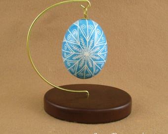 Pysanky Pisanki Ukrainian Polish Easter Egg Light Blue Ramstar Hand Decorated Chicken Egg