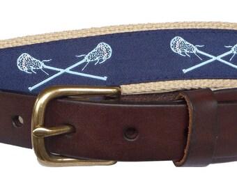 Light Blue Carolina Lacrosse Belt / Leather Belt / Canvas Belt / Preppy Webbing Belt for Men, Women and Children/Light Blue Lacrosse on Navy
