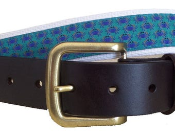 Blue Crab Leather Belt / Leather Belt / Nautical Belt / Preppy Webbing Belt Men, Women and Children/Blue Crab Ribbon and White Webbing