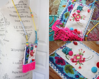CROSS STITCH medicine POUCH fringe necklace upcycle wearable art