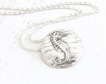 Fine Silver Seahorse Necklace Eco-Friendly Seahorse Pendant | Handmade PMC Jewelry Clearance Sale