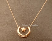 Rose gold necklace moon star 14k rose gold stainless steel moon pendant love  Perth Australia