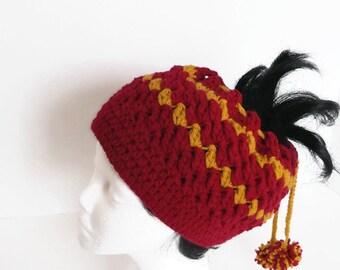Messy Bun Hat with Drawstring Closure Gryffindor House Colors Hogwarts Maroon & Gold, skiing, snowboarding, biking