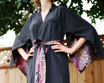 The Haiku. One custom black long Haiku robe in faux silk crepe with pockets Long kimono robe with pockets Bohemian kimono robe Gift for her