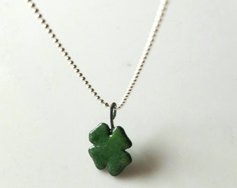 Enamel lucky four leaf clover on sterling silver ball chain
