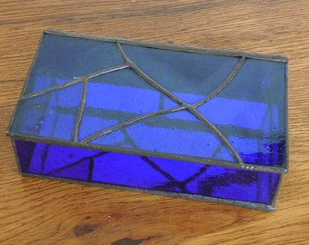 Vintage Leaded Glass Jewelry Trinket Box Cobalt Blue