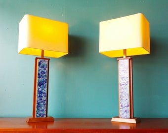 pair mid century modern Harris Strong blue tile walnut lamps with new shades
