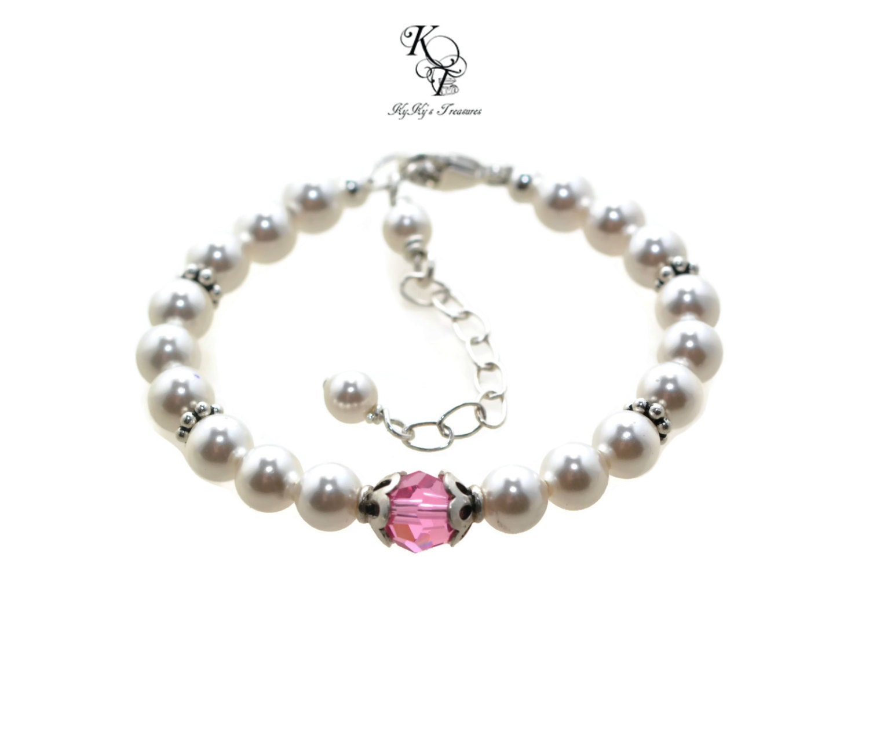 Baby Charm Bracelets: Baby Birthstone Bracelet Baby Jewelry Little Girl Bracelet