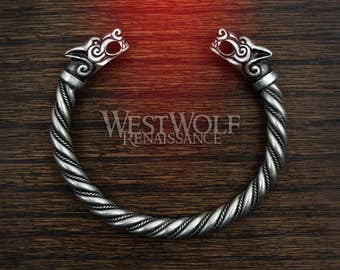 Silver Viking Fenrir Wolf Bracelet/Torc/Torque -- Norse Mythology/Wolves/Medieval/Jewelry/Skyrim