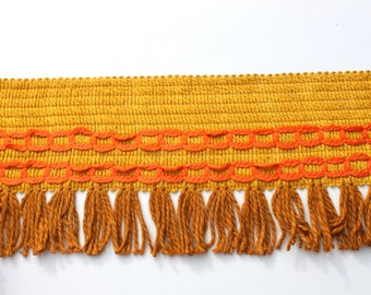 Vintage Wide Retro Orange Brown 70s Yarn Fringe Trim, 6 inch wide Hippie Purse Lamp Trim, 1970s sewing trim, 5 yards