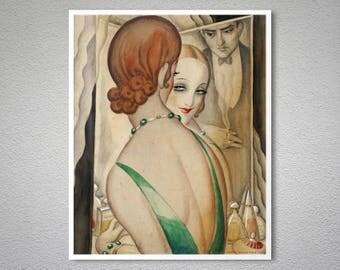 At the Mirror by Gerda Wegener, 1931 -  Poster Paper, Sticker or Canvas Print / Gift Idea