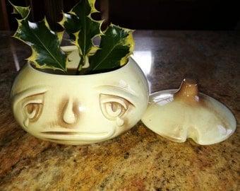 Vintage Sylvac Onion Face Pot, crying onion dish.