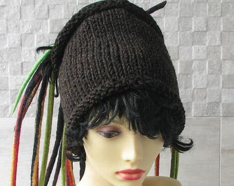 Lovely dreadlock mens headband knitted headwrap chunky knit  tube hat Dreads accessories Brown Tweed