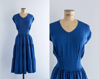 1940s Cobalt Blue Dress - 50's Fashion - Azurita Dress