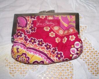 Vera Bradley Coin Purse - Bali Gold - Raspberry Pink - Hot Pink Orange Yellow  - Kiss Clasp - Retired Pattern