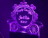 Lighted Personalized Cinderella Carriage Wedding Ornament, Disney Wedding, Christmas Ornament, Wedding Gift, Crystal Clear Acrylic