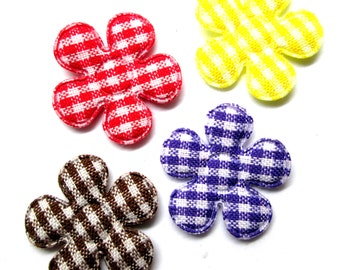 "100pcs x 7/8"" Assorted Gingham Cotton Flower Padded/Appliques - (Red/Purple/Brown/Yellow)"