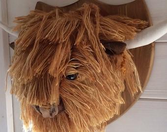 Handmade textile highland cow head