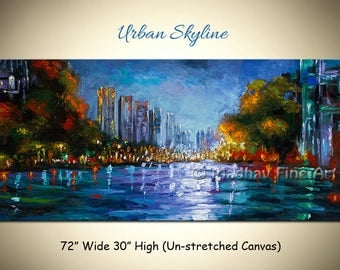 City skyline painting, Cityscape painting, Original abstract art, Acrylic art on canvas by Madhav - Size: 72'' x 30'' (183cm x 76cm)