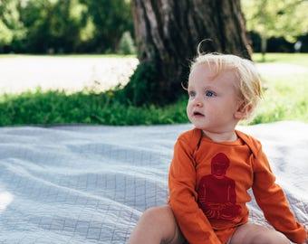 SALE Organic Hipster Bodysuit // Buddha Baby // Buddha Print Bodysuit // Organic Baby Clothes // Crunchy Mama Gift // Best Baby Gift