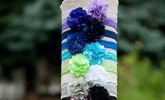 Single light blue mini mesh flower headband