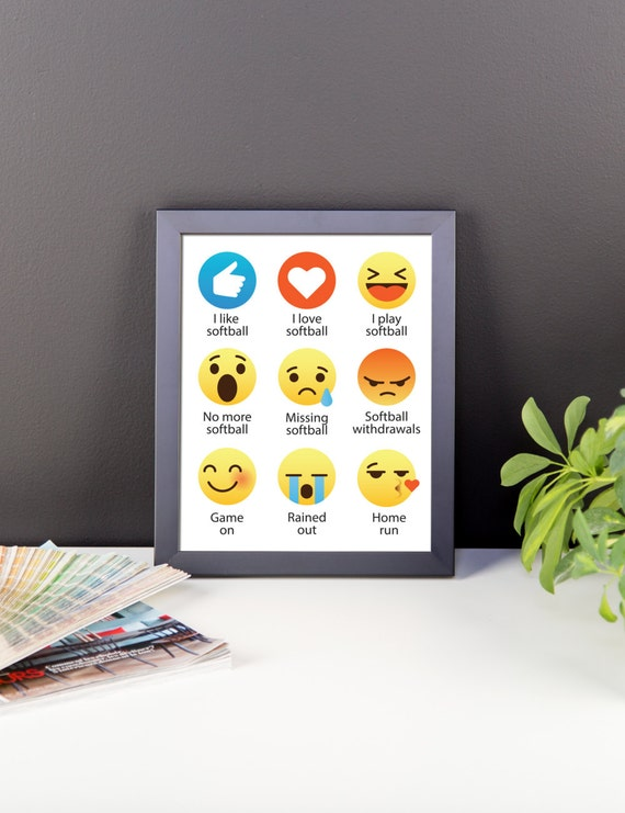 I Love Softball Emoji, Emoticon Sayings - Digital Instant Download (for wall hanging, decor, fun printable, for a frame, gift, for fun)