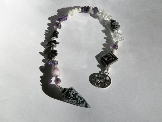 "Amethyst & Moonstone, Snowflake Obsidian Pendulum ""Spirit"" Divination Tool Divination Ritual Hand Made"