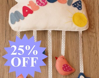 25% OFF !!! SALE !!! Personalized decoration for a child's room. Child's name. The cloud of felt.