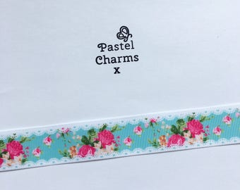 Shabby chic floral ribbon  2 yards 22mm wide x