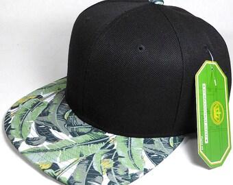 Palm Tree Hawaii Custom Embroidery Flatbill Snapback Hawaiian Floral Snap Back Cap Hat