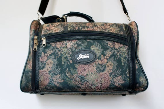Vintage SKYWAY Green Floral Tapestry Overnight Bag Carry On
