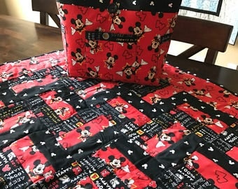 Mickey Mouse Quilt and Diaper Bag Matching Set