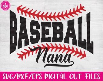 Baseball Nana, SVG, DXF, EPS, Cut File, Sports Nana, Spring, Summer, Family, Laces, Ball, Grandmother, Vinyl, Silhouette, Cricut