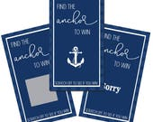 Set of 12 Scratch Off Game Cards with Nautical Anchor Beach Coastal Scratchers in Navy Blue CSC018