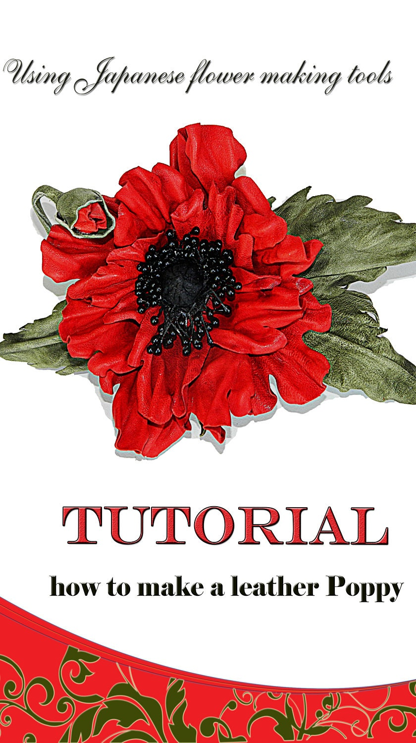 Leather poppy flower making kit craft kit diy kit for Leather flowers for crafts