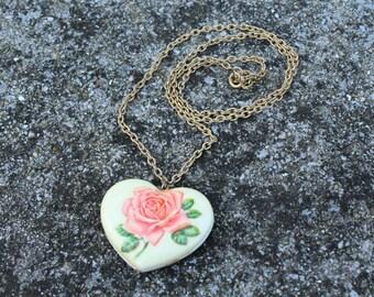 Vintage Rose Heart Necklace