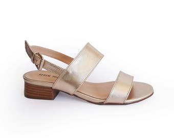 Gold sandals, Womens low heel strap sandals, Strappy shoes, Leather sandals, Champagne gold strap sandals, Summer sandals, Wedding sandals