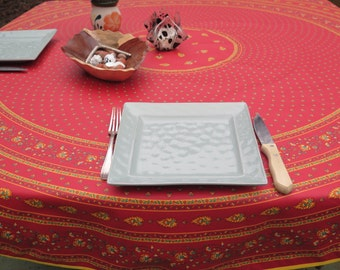 "Round tablecloth  Provencal .2 SIZES 70"" diameter or 60"" diameter. CHOOSE THE fabric :  oilcloth or regular cotton . paisley in terra cotta."