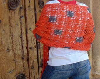 Rectangular orange cotton shawl handmade