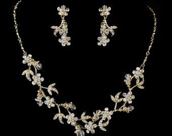Dangle Swarovski Crystal Dangle Necklace & Earrings Jewelry Set