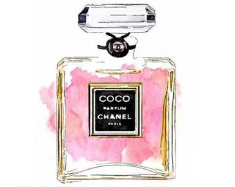 Coco Perfume DIGITAL ART PRINT from Watercolor Painting  - Chanel Pink Black No 5 Parfum Mademoiselle Chance Noir Perfumes Art Print